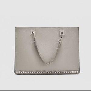 Zara grey leather studded shopper bag